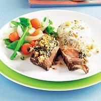 Lamsrack met groene-kruidenkorst recept