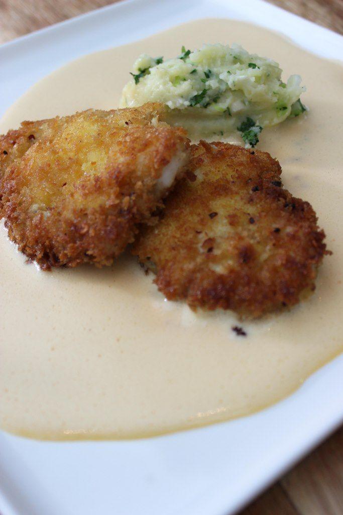 Recept 'zeeduivel-schnitzel met kruidenpuree en dijonaise'