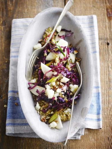 Recept 'quinoasalade met rode kool en peer'