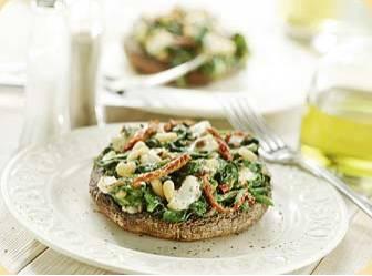 Portobello met geitenkaas en spinazie recept