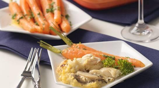 kabeljauw met champignons