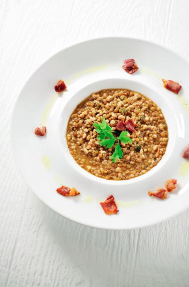 Recept 'maaltijdsoep met spelt en linzen'