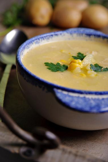 Recept 'kippensoep met maïs'