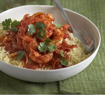 Garnalen en harissa met couscous recept