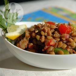 Verfrissende linzensalade recept