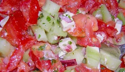 Tomaten, komkommer, feta salade recept