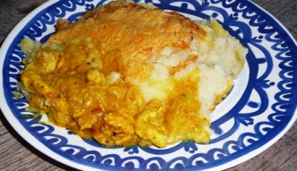 Bloemkool ovenschotel met kip/kerrie/ananas recept