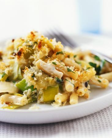 Recept 'prei met macaroni uit de oven'
