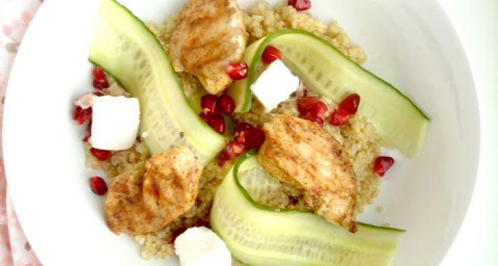 Quinoa salade met marokkaanse kip en granaatappel