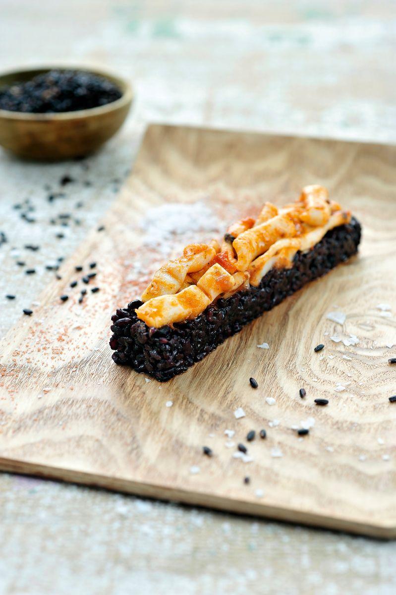 Recept 'zwarte risotto met inktvis'