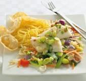 Oosterse kabeljauw met mie en roerbakgroenten recept