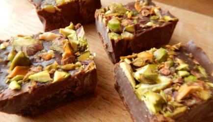 Chocolade fudge met pistache recept