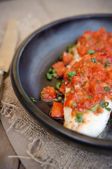 Recept 'kabeljauw met tomatentopping'