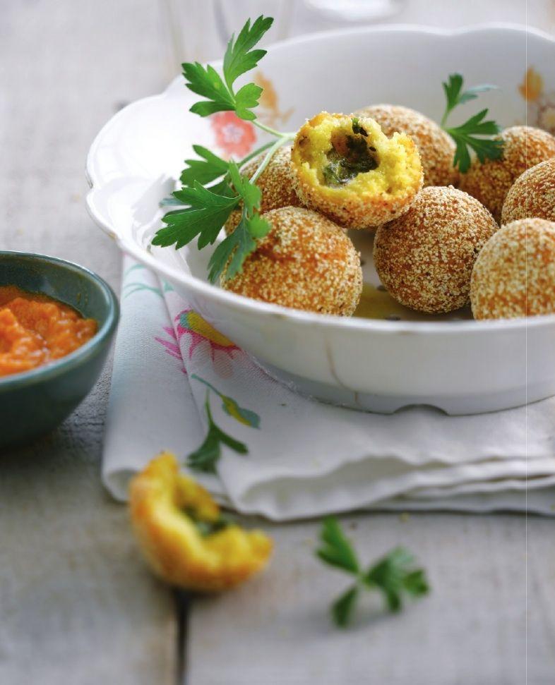 Recept 'polentabolletjes met tuinkruiden'