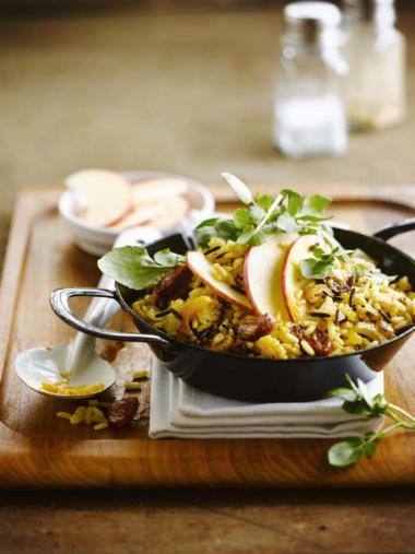 Recept 'rijstsalade met chorizo en appel'