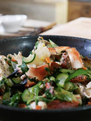 Recept 'noordzeekrab in de wok'