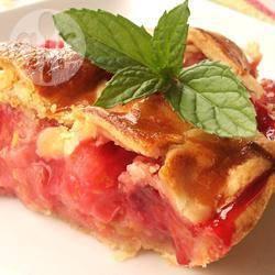 Aardbeien-rabarbertaart recept