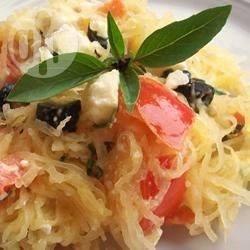 Gebakken spaghettipompoen met feta recept