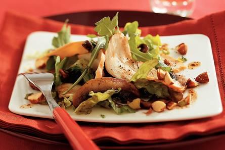 Salade met gerookte kip en portobello