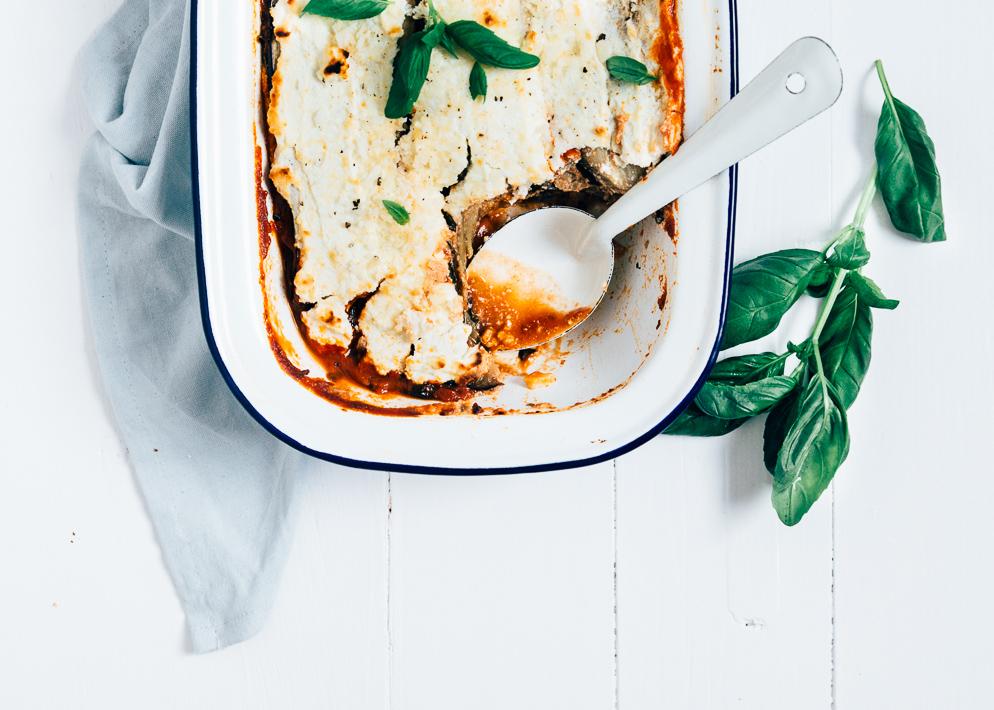Vega aubergine lasagne zonder lasagne bladen