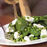 *jamie oliver's salade van jonge spinazie, doperwten en feta ...