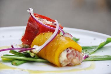 Recept 'gevulde paprika met zolfinobonen en tonijn'