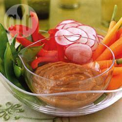 Gestoomde groenten met pindasaus recept