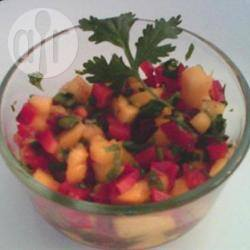Milde salsa met mango en rode paprika recept
