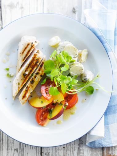 Recept 'gegrilde kip met perzik & tomaat'